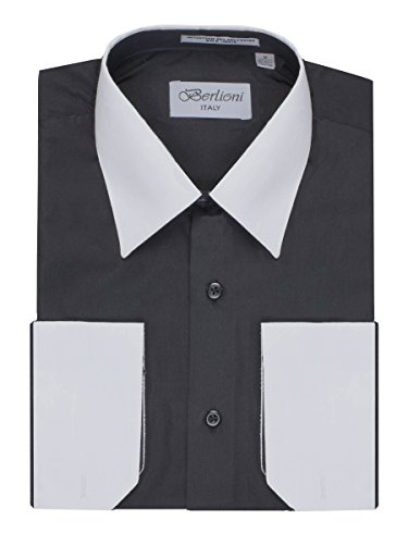 Men In Black Fancy Dress (Men's Black Two Tone Dress Shirt w/ Convertible Cuffs - Large 36 /37)