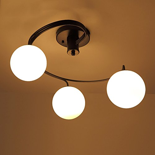 Lovedima Modern Globe Glass Shade Black Metal Swirl Arm 3-Light/5-Light Semi Flush Mount Ceiling Light (3-Light) (Globe Featuring White Glass Fixture)