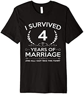 [Featured] 4th Wedding Anniversary Gifts Couples Husband Wife 4 Years Premium in ALL styles | Size S - 5XL