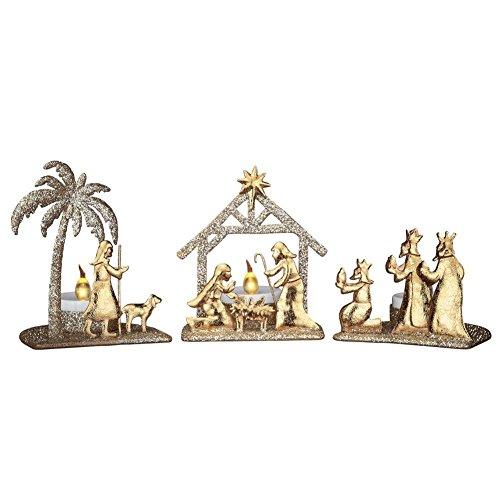 Shimmery Gold Nativity Scene Candle -