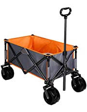 TRIPLE TREE Collapsible Wagon Cart, Folding Outdoor Utility Wagon Beach Garden Camping Shopping Cart with Removeable Cover Support up to 176LBS