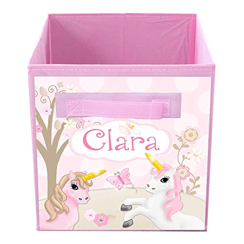 Toad and Lily Soft Pink Unicorn Girl's Fabric Bin Kid's Bedroom Baby Nursery Organizer for Toys or Clothing FB0099