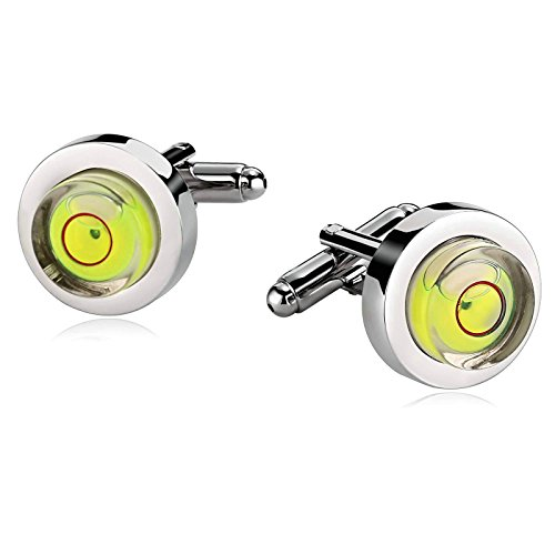 Mens Cufflinks Stainless Steel Level Liquid Round Construction Green Tuxedo 1.6X1.6CM Dad Unique Jewelry Box Fancy Elegant Aooaz (Liquid Dame)