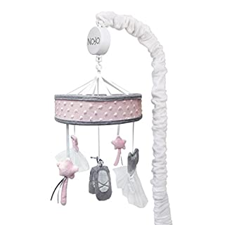 NoJo – Ballerina Bows Musical Mobile, Nursery Crib Changing Table Musical Mobile – Pink and Grey Ballerina Shoes, Dress and Stars