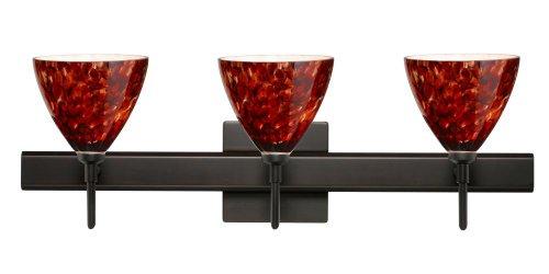Besa Lighting 3SW-177941-BR-SQ 3X40W G9 Mia Wall Sconce with Canopy Garnet Glass, Bronze Finish