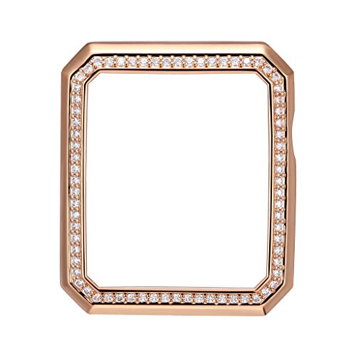 SKYB 14K Rose Gold Plated Bronze Deco Halo Jewelry-Style Apple Watch Case with Swarovski Zirconia CZ Border - Large (Fits 42mm iWatch)