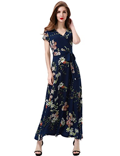 Aphratti Women's Bohemian Short Sleeve V Neck Faux Wrap Vintage Maxi Dress Medium Navy -