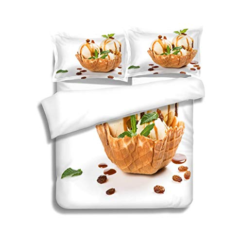 - MTSJTliangwan Family Bed Wafer Basket with Vanilla ice Cream 3 Piece Bedding Set with Pillow Shams, Queen/Full, Dark Orange White Teal Coral