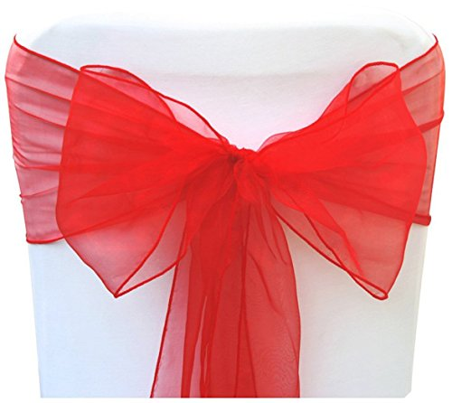 (THE WD New Organza Chair Sashes Bow for Wedding Party Events Banquet Reception Decorations - (10, Red))
