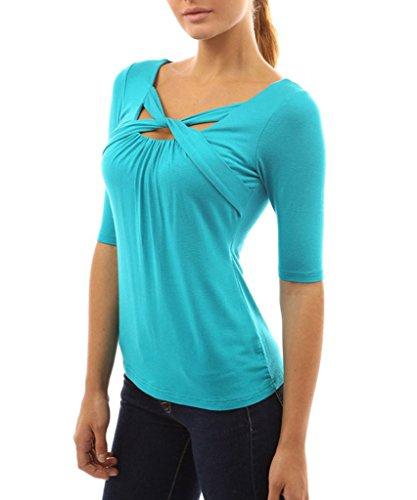 Chemise Elbow Slim Shirt Bleu Shirt T Minetom Croix Manchon Cou Tops Blouse Femmes p5gnw4qXz