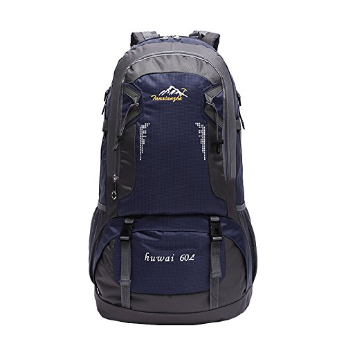 SUNVP Lightweight 60L Hiking Backpack Waterproof Camping Outdoor Sports Backpacking Bag with a Rain Cover for Traveling Trekking Climbing (Dark Blue) by SUNVP