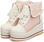 HILIB Women's Cute Lolita Boots Cosplay Brogue Wedge B