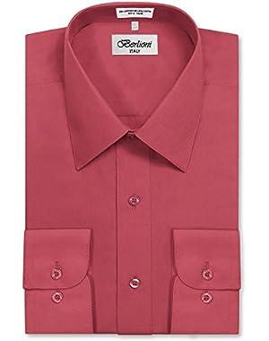 Men's Long Sleeve Solid Premium Dress Shirt