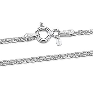 Amberta® Bijoux – Collier – Chaîne Argent 925/1000 – Maille Spiga – Largeur 1.7 mm – Longueur 40 45 50 55 60 cm