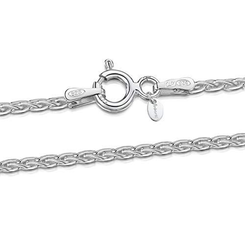Spiga Sterling Chain Silver 925 - Amberta 925 Sterling Silver 1.7 mm Spiga Wheat Chain Necklace Length 20