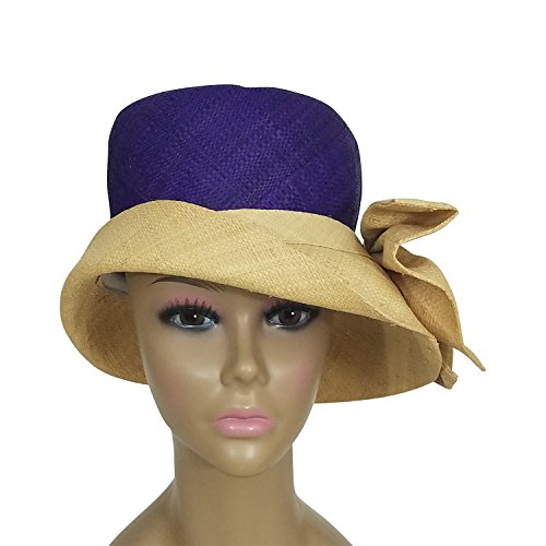 Authentic African Hand Woven Purple and Natural Madagascar Bell Shaped Raffia Hat with Bow