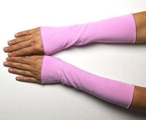 Lange Sommer Stulpen Baumwolle rosa 25 cm