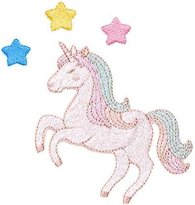XUNHUI アイロンワッペン ユニコーン3色のお星ワッペン アイロンワッペン 刺繍 アップリケ 4枚セット