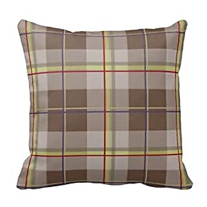 Brown Gray and Yellow Plaid Gingham Chess Pattern Square Throw Pillow Cover Case Decorative for Sofa 18 x 18 Inch Two Sides