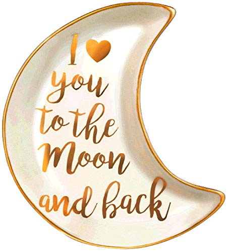 (Stephanie Imports I Love You to The Moon & Back Ceramic Trinket Plate and Decorative Jewelry)