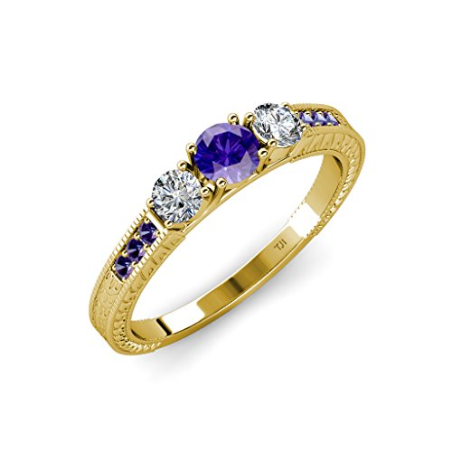 TriJewels Iolite and Diamond 3 Stone Ring with Side Iolite 0.80 ct tw 14K Yellow Gold.size 6.5 ()