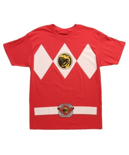 Mighty Morphin Power Rangers Costume Men's T-shirt (Large, Red)