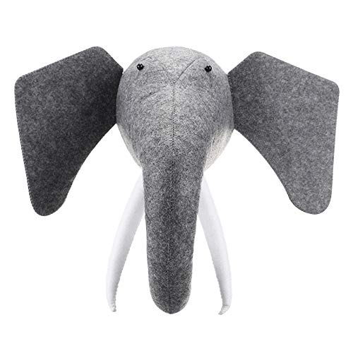 - SODIAL 3D Felt Animal Elephant Head Animals Head Toys Kids Bedroom Wall Hangings Decor Artwork Gifts