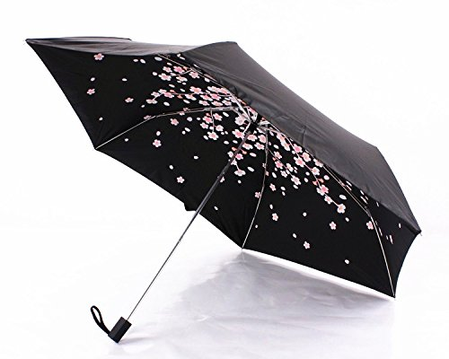 Cherry Blossom Foldable Windproof Travel Umbrella, Fast Drying/waterproof 8 Ribs Reinforced Windproof, , portable and durable for Business. (Plum Pink) by Tomato99 (Image #2)
