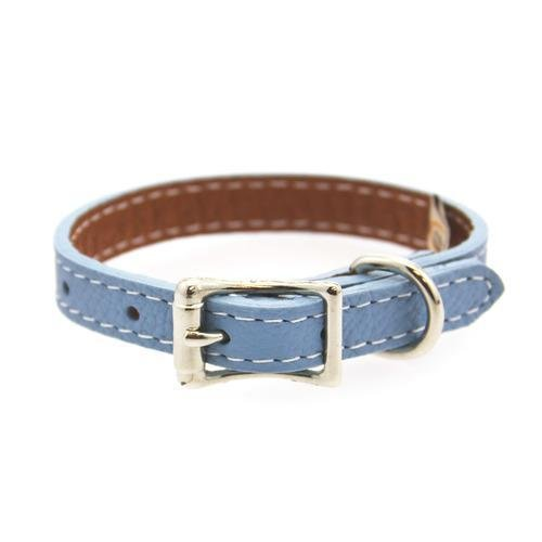Luxury Italian Leather Tuscany Dog Collar Light bluee 14