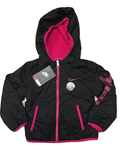 Nike Girls Fleece Lined Reversible Jacket (Black/Pink) (4) by NIKE