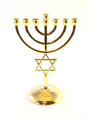 Gold plated Jewish Menorah 7 Branch Star of David 7.1
