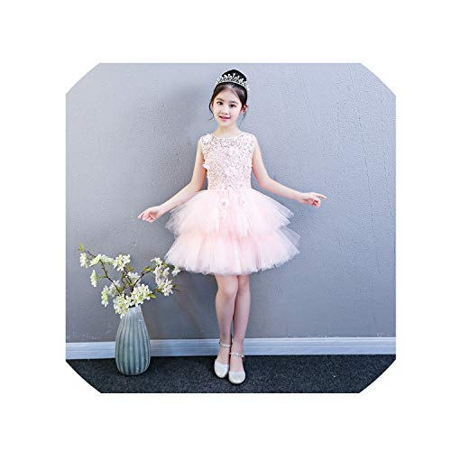 Performance Show Prom Flower Girl Wedding Dresses Kids Trailing Layered Party Princess Birthday Dress First Communion Gown,Short Pink Dress,4T]()