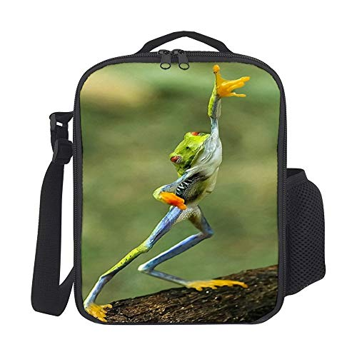 SARA NELL Kids Lunch Backpack Hip Hop Funny Frog Lunch Bag Lunch Box Cooler Meal Prep Lunch Tote With Shoulder Strap For Boys Girls Teens Women Adults