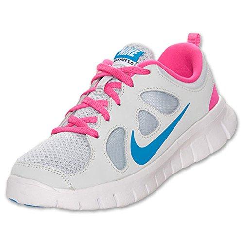 Nike Free 5.0 (ps) Meisjes Jeugd Hardloopschoenen Pr Platinum / Bl Hr-pnk Fl-white Pr Platinum / Bl Hr-pnk Fl-white