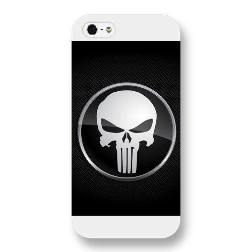 UniqueBox Customized Marvel Series Case for iPhone 5 5S, Marvel Comic Hero The Punisher Logo iPhone 5 5S Case, Only Fit for Apple iPhone 5 5S (White Frosted Case)