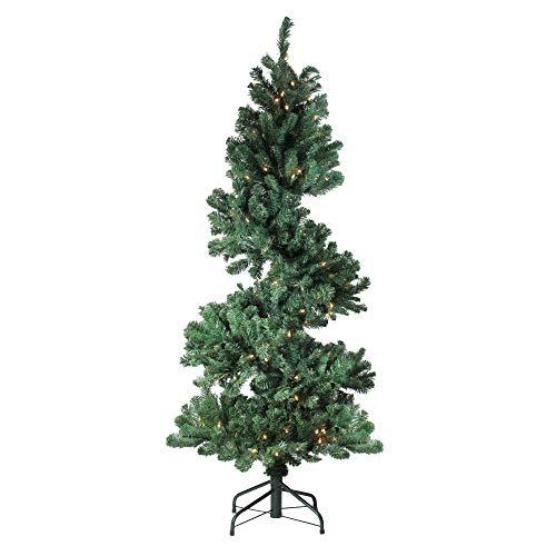 Vickerman 5.5' Pre-Lit Spiral Pine Artificial Christmas Tree - Clear Dura-Lit - Pre Spiral Lit