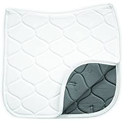 """Benefab Therapeutic Anti Slip Dressage Horse Saddle Pad with Anti-Wrinkle Technology - Lightweight, Breathable with Wicking Qualities - (23"""" Spine & 23"""" Flap Length), White"""