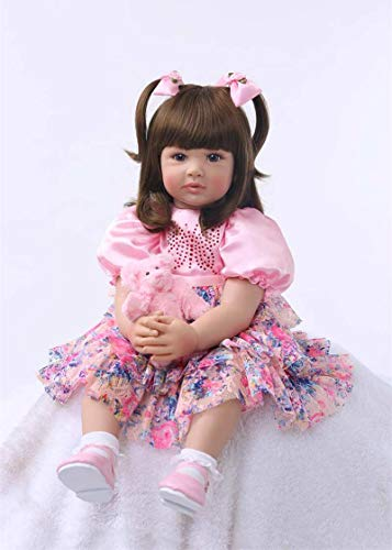 PURSUEBABY Real Life Toddler Princess Girl Doll Ann Snuggle Soft for Children, 24 Inch Lifelike Weighted Reborn Toddler Dolls with Long Hair