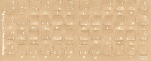 Hungarian Keyboard Stickers - Labels - Overlays with White Characters for Black Computer Keyboard