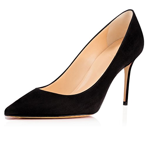 Women's Dress Office Heel 8cm Black for Eldof Comfort Pumps Suede Pumps High Wedding Patry ZdwFYTq