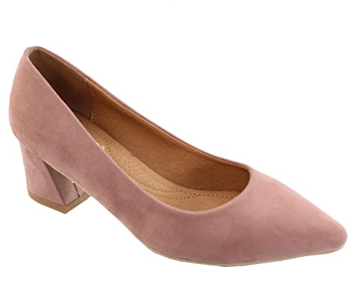 Heel Elegant Block Toe Pointed Slip Blush On Women's Footwear Pump XwUqrX