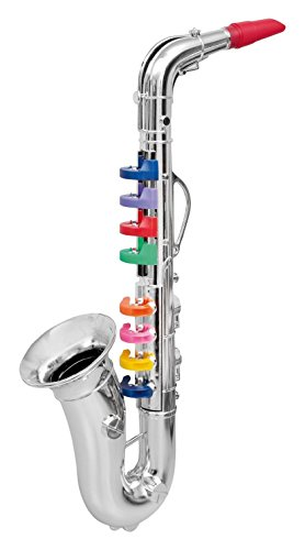 Click N' Play Saxophone with 8 Colored Keys, Metallic Silver (Renewed)
