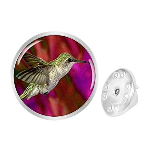 WAZZIT Round Metal Tie Tack Hat Lapel Pin Brooches Bird Green Purple Hummingbird Animal Banquet Badge Enamel Pins Trendy Accessory Jacket T-Shirt