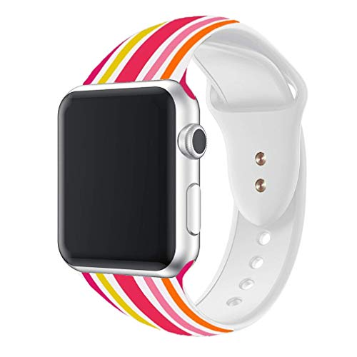 Daze Colors Silicone Band for Apple Watch Replacement Bands for iWatch (Pink Stripes, 38mm)