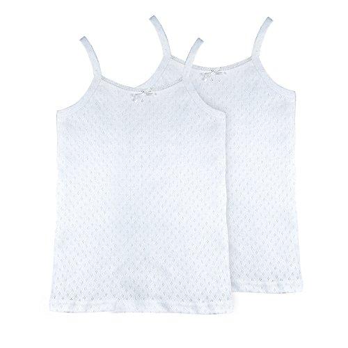 Trim Feather Tank (Brix Girls' Camis Solid White - 100% Cotton Pointelle 2-Pk Cami Undershirt. 7/8)