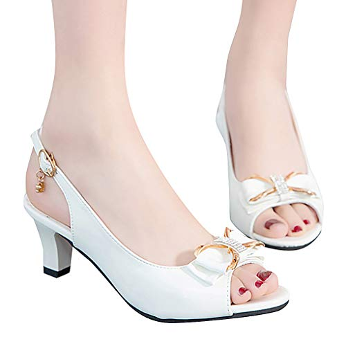 (Cenglings Women's Sexy Peep Toe Patent Bowknot Slip On Shallow Sandals Casual Slingback Buckle Hollow Out Shoes Party Sandals White)