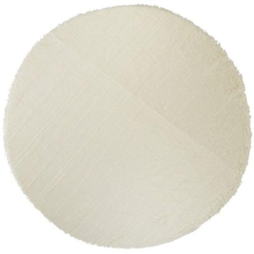 White Floor Covering Rug - Faux Sheepskin Area Rug, 8' Round, White