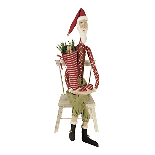 Joe Spencer 46 Sleepy Time Santa Fabric Figurine with Hand-Painted Face and Intricate Detailing