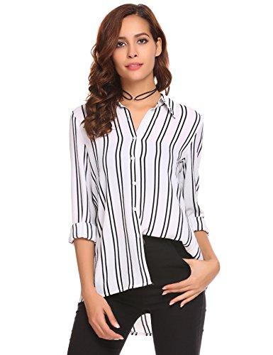 Mofavor Women's Long Sleeve Striped Button Down Shirt V Neck Blouse Top White L