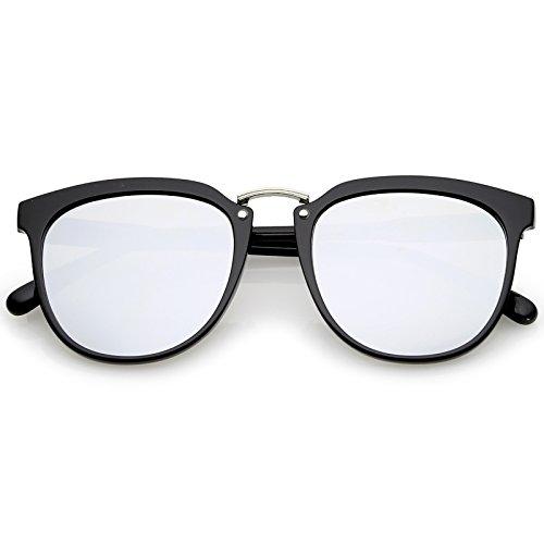 sunglassLA - Horn Rimmed Square Mirror Metal Bridge Flat Lens Sunglasses 55mm (Black Silver/Silver Mirror)